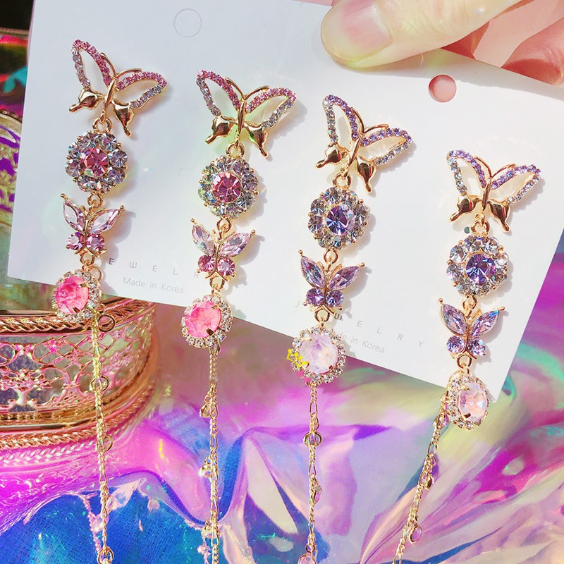 MENGJIQIAO 2020 Fashion Korean Crystal Butterfly Long Tassel Drop Earrings For Women Students Holiday Party Pendientes Jewelry