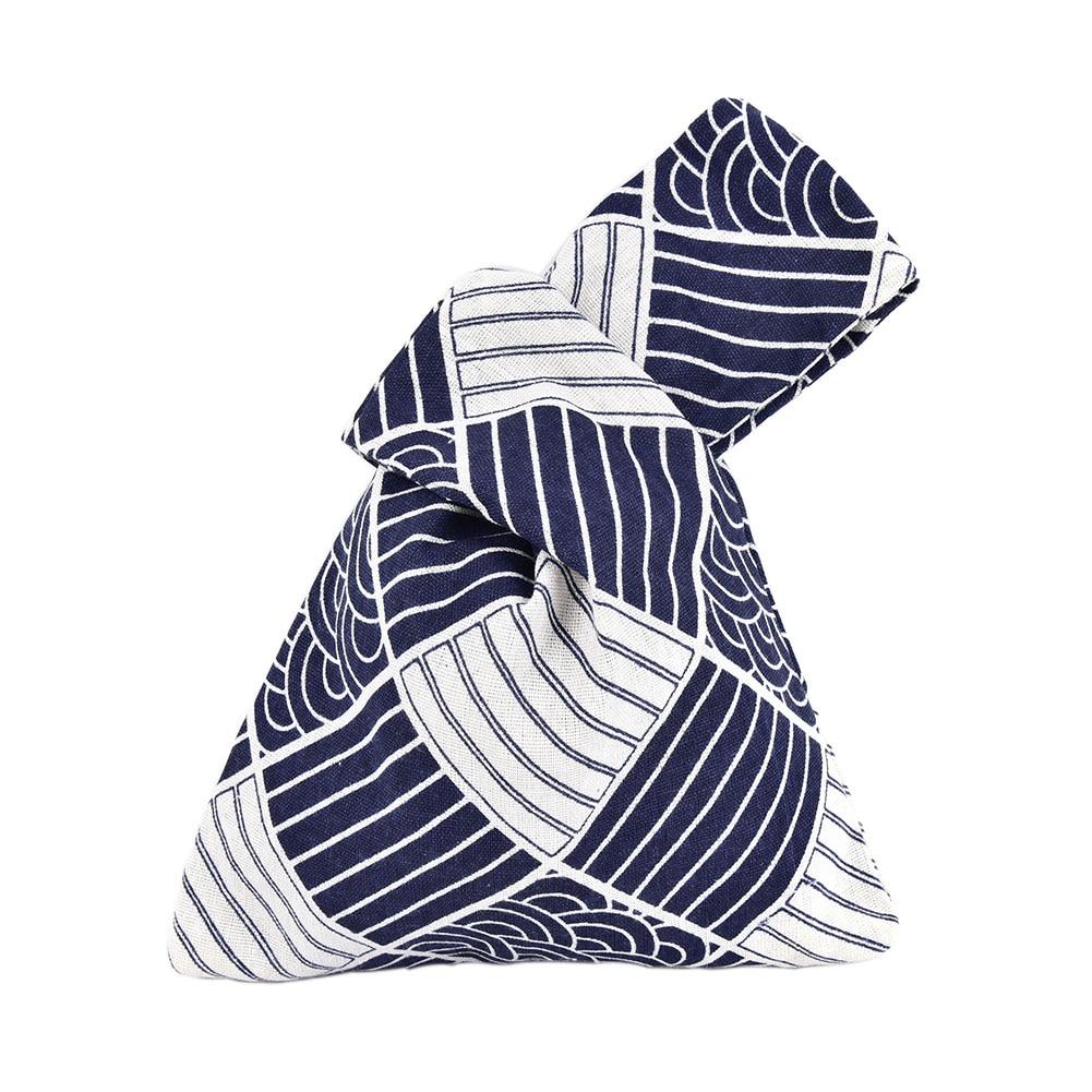 Women Fashion Wrist Bag Japanese Style Mini Portable Lunch Pouch Cotton Linen Office Small Stripe Daily Delicate Picnic Tote