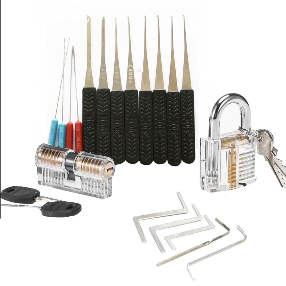 Practice Lock Pick Set Combination Transparent Lock with Broken Key Hand Tools ,Tension Wrench Tools