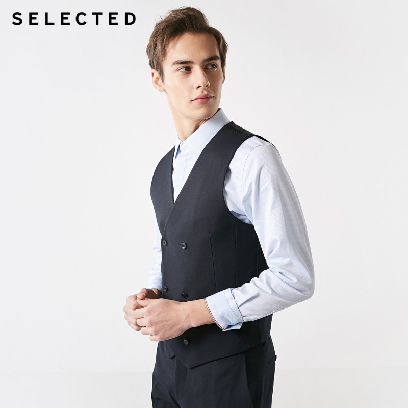 SELECTED Men's Slim Fit 100% Wool Pure Color Business Waistcoat T|419134503