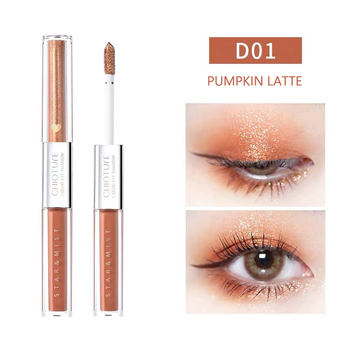 2020 Hot Sale Double-color Liquid Eyeshadow Cosmetics Matte Shimmer Glitter Eye Makeup Portable ins Dual ended Waterproof Long-l l cosmetics