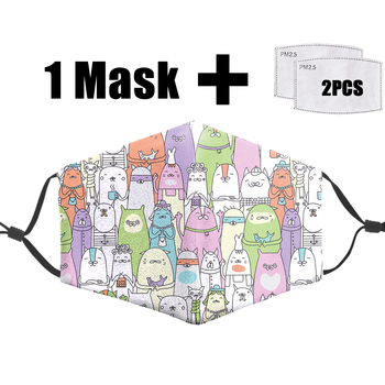 Cartoons Characters Printed Face Masks Reusable Protective Pm2.5 Filter Mouth Mask Washable 3D Dust Bacteria Proof Flu Mask