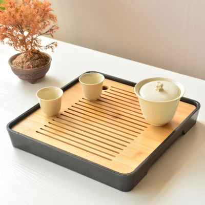 Bamboo Chinese Tea Tray Cup Plate Dessert Serving Tray Kung Fu Tea Accessory CO