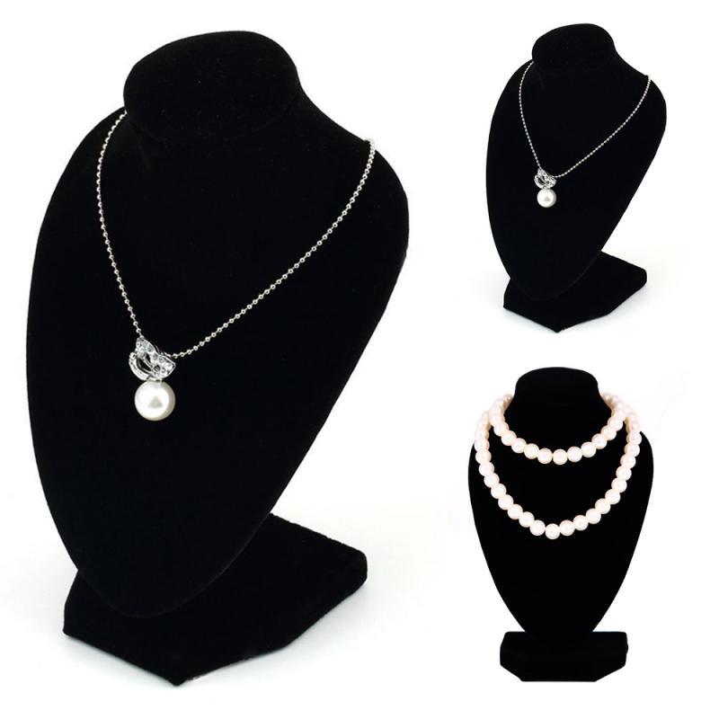 1pc novo preto veludo tecido display titular para colar manequim colar jóias pingente display