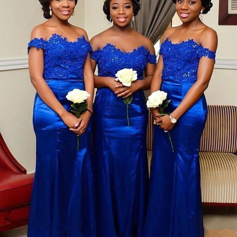 Royal Blue Off Shoulder Plus Size African Mermaid Bridesmaid Dresses Long Satin Lace Applique Maid of Honor Gowns Wedding Party