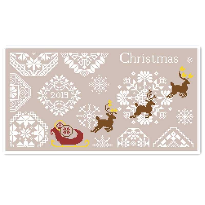 عيد الميلاد الغزلان عبر الابره عدة الشتاء الثلوج القطن الحرير الموضوع 18ct 14ct 11ct الكتان الكتان الكتان التطريز لتقوم بها بنفسك الإبرة