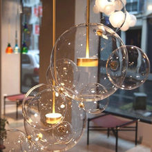 Modern Clear Glass ball chandelier LED Bubble simple living room Bedroom Dining Room pendant lamp(China)