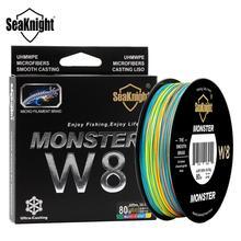 Seaknight w8 300m 500m multi cor trança linha de pesca 8 vertentes pe linhas 100% camada uv baixa extremamente para água salgada 20 100lb