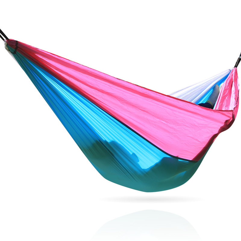 Outdoor Parachute Hammock Swing Bed Red Camping Hamock No Carabiners.