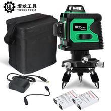 Niveau Laser 12 lignes 3D à nivellement automatique, outils de mesure professionnels à faisceau vert Horizontal et Vertical 360