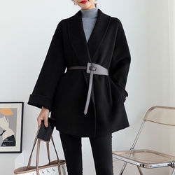 EACHIN Spring Korean Overcoat Women Fashion New Vintage Woolen Loose Jacket Coats Female Autumn Turn-down Collar Belt Overcoats