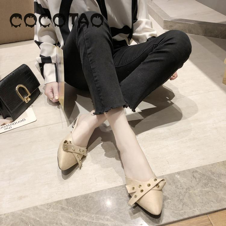 Pointed half slippers outside women wear in the summer of 2019 the new web celebrity lazy fashion shoes joker rivet in baotou21 in Slippers from Shoes