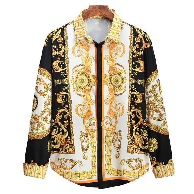 Luxury Royal Shirt Men Casual Slim Fit Long Sleeve Men Paisley Print Shirt Camisa Social Masculina Manga Longa Prom Party Shirt 6