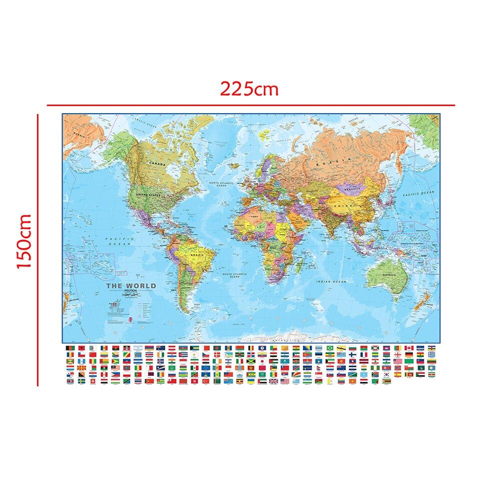 La carte physique politique du monde 150x225cm carte du monde pliable sans décoloration avec drapeaux nationaux pour la Culture et l'éducation