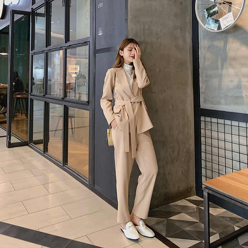 REALEFT Autumn OL Work Pants Suits 2 Piece Sets Casual Blazer Jacket with Belt & Casual Trousers Suit For Women Sets Feminino