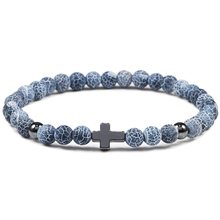 New Hot Trendy 6mm Black Light Beaded Bracelet Prayer Natural Cross Stone Charms Bracelets For Men Women Elasticity Accessories