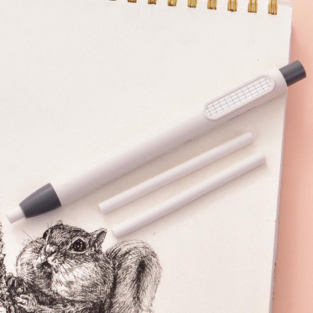 Refillable Pen Shape Rubber Press Type Mechanical Eraser School Stationery Art Easy To Use Christmas Gift