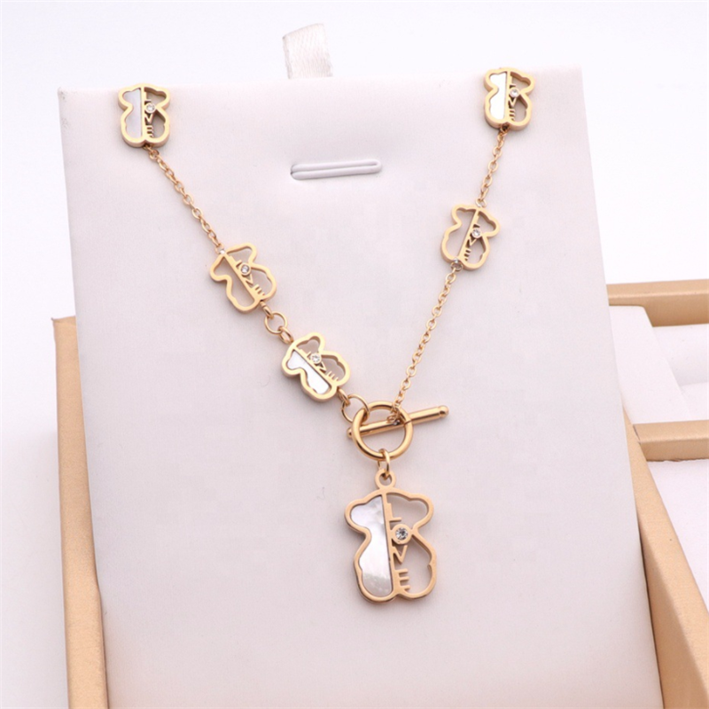 Charm Hollow Cubic Zircon Bear Chain Necklaces Earings Sets Love Shell Pendant For Women Gold Color Animal Necklace Jewelry Gift