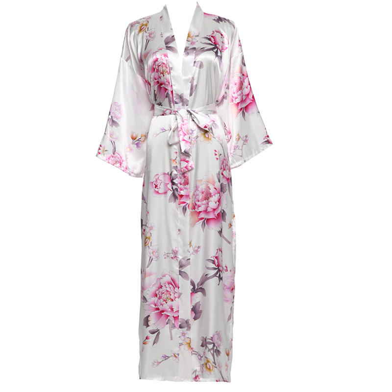 YUXINBRIDAL 2019 New Long Floral Robe Kimono Bridal  Satin Silk Bathrobe Night Dress Wedding Robes Bridesmaids Bride Sleepwear