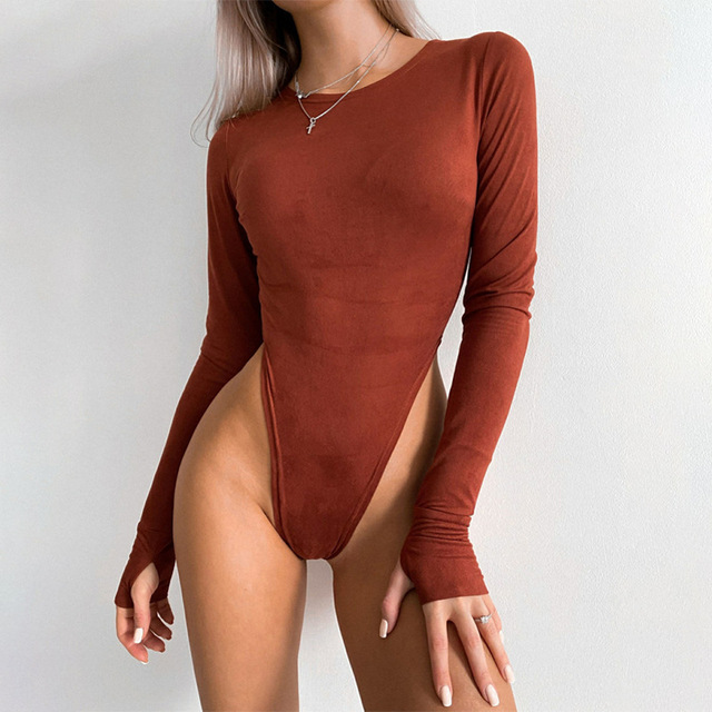 Faux Suede Bodysuit With O-Neck Long Sleeves 3