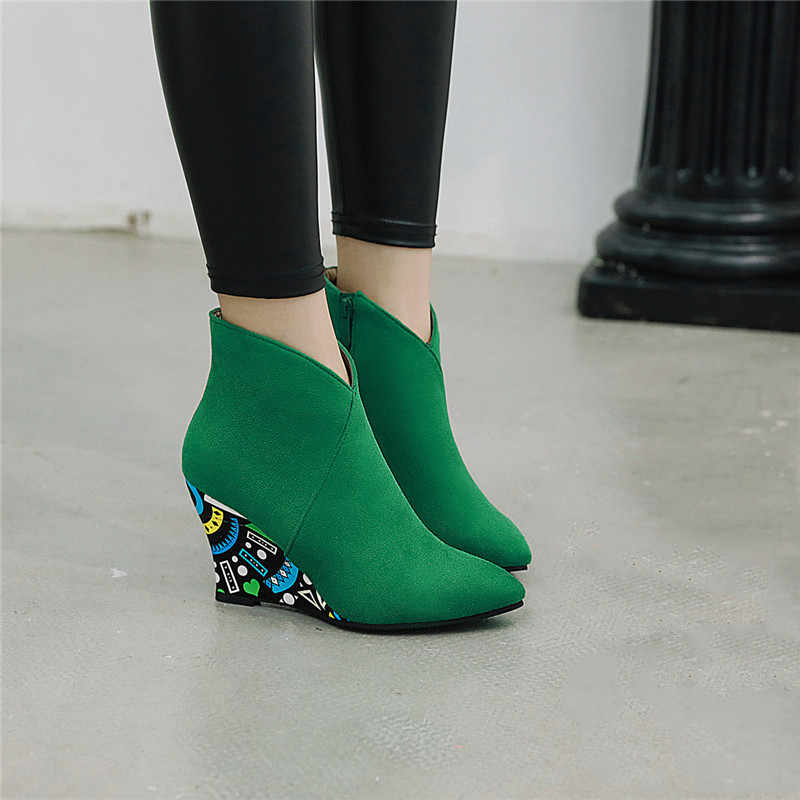 YMECHIC Fashion Suede Wedge Heel Womens Shoes Green Black Orange Purple Print Wedges Winter Ankle Boots Pointed Toe Bootie 2019