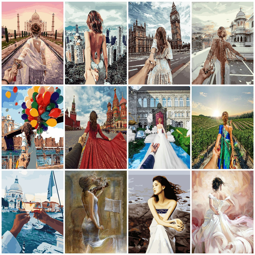 HUACAN Painting By Numbers Girl Kits Drawing Canvas HandPainted Figure Picture Home Decoration Gift Art DIY