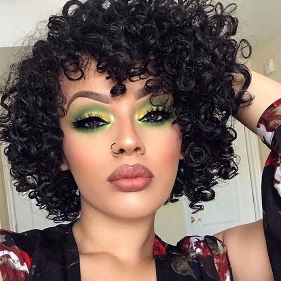 Rebecca Short Curly Bob Wigs Human Hair Wigs For Black Women Peruvian Remy Loose Curly Human Hair Bangs Wig Bohemian Wave Nature