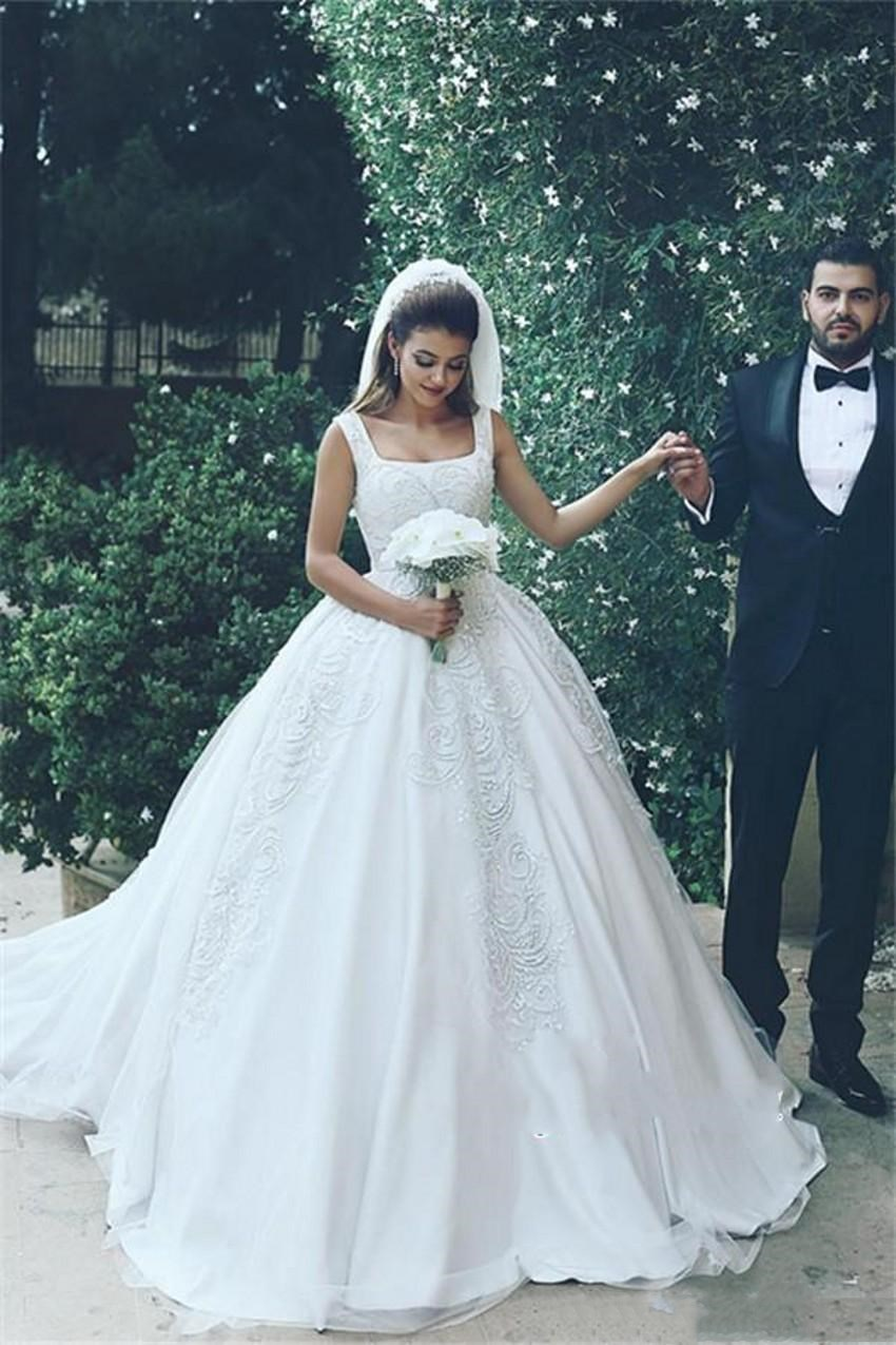 Exquisite Satin Wedding Dress 2020 Square Neckline Ball Gown With Lace Appliques Court Train Plus Size India Arabic Bridal Gowns Wedding Dresses Aliexpress,Sparkle Mermaid Wedding Dresses With Bling