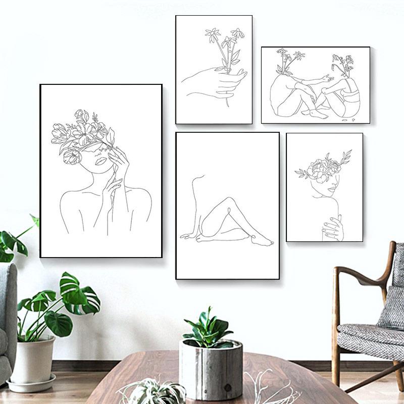 Nordic простота проведенными линиями плакат и принт черный, белый цвет абстрактный цветок женские Картина на холсте настенные картины декор