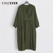 CHICEVER Dresses Female V Neck Batwing Long Sleeve Oversized Midi Dress For Women Casual Fashion 2020 Spring Clothes New(China)