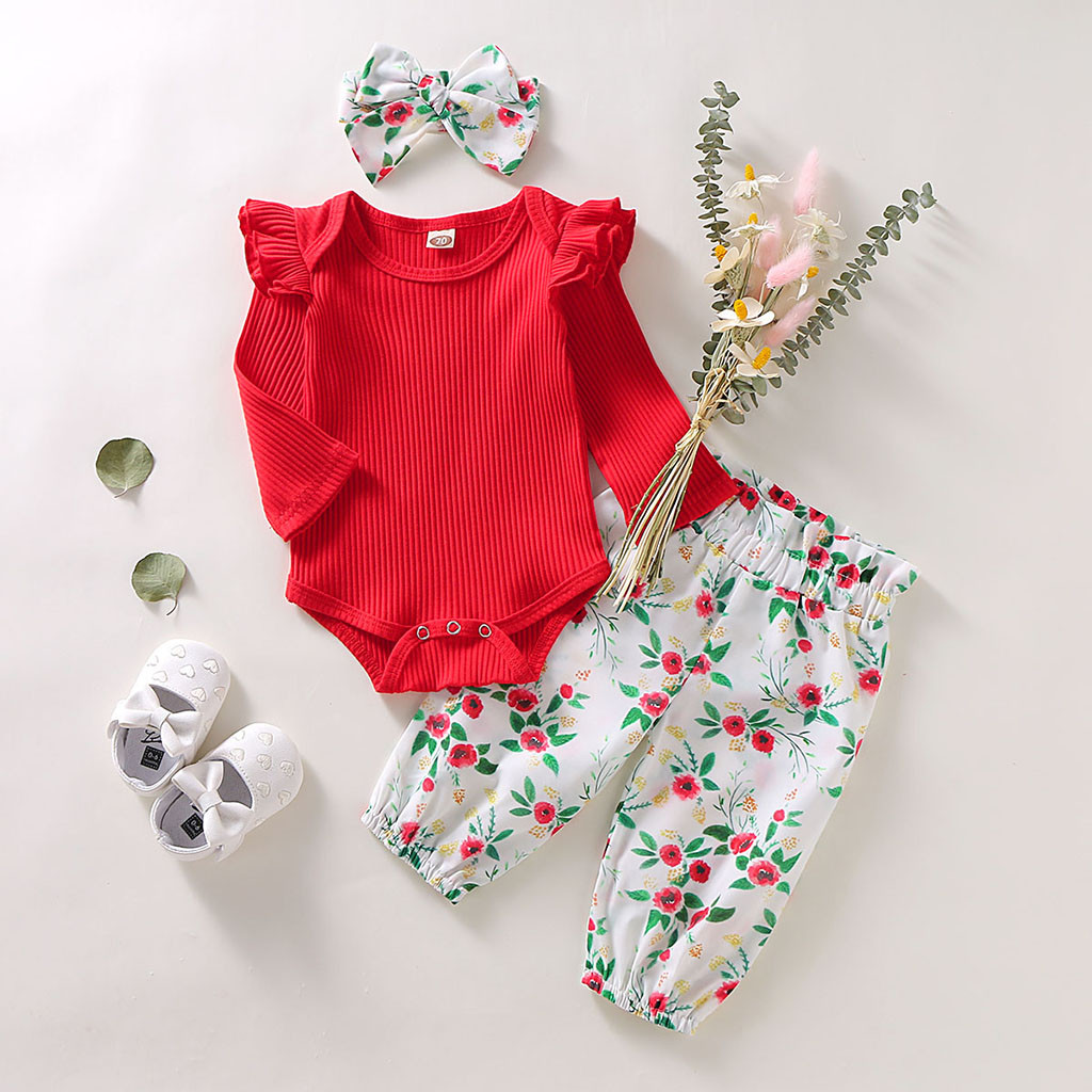 Newborn Clothes Baby Girl Clothes Baby Boy Clothes Ruffles Solid Romper Bodysuit+Floral Pants+Headband Outfits Roupa Infantil Z4