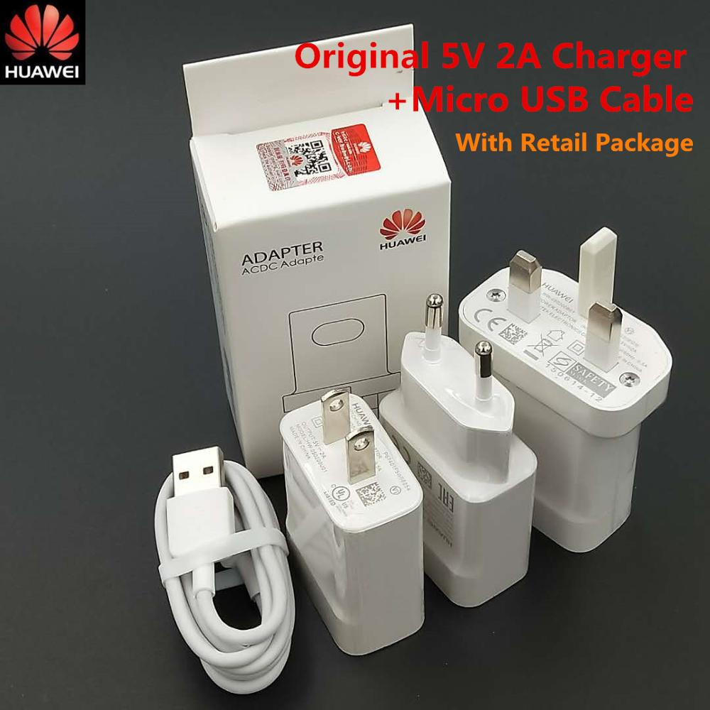 Original Huawei 5V 2A charger EU US Charge power adapter usb micro cable for P9 P8 lite honor 8C 8X 7X Y6 Y7 Y9/P smart/Mate 8 S image