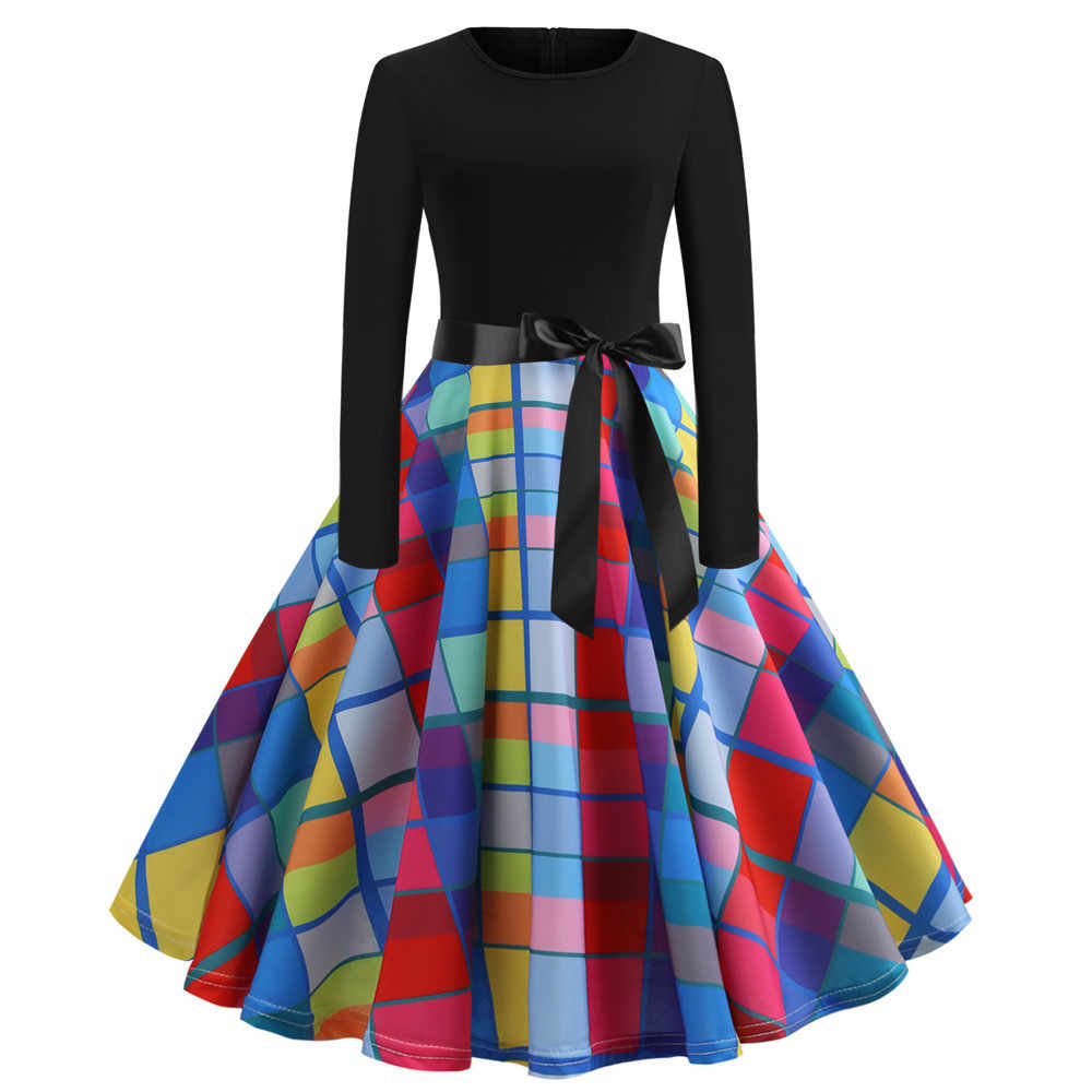 Puimentiua 2019 הכי חדש חג מולד שמלות נשים מקרית רטרו ארוך שרוול מודפס מסיבת שמלה גדולה נדנדה גבירותיי טלאים Vestidos
