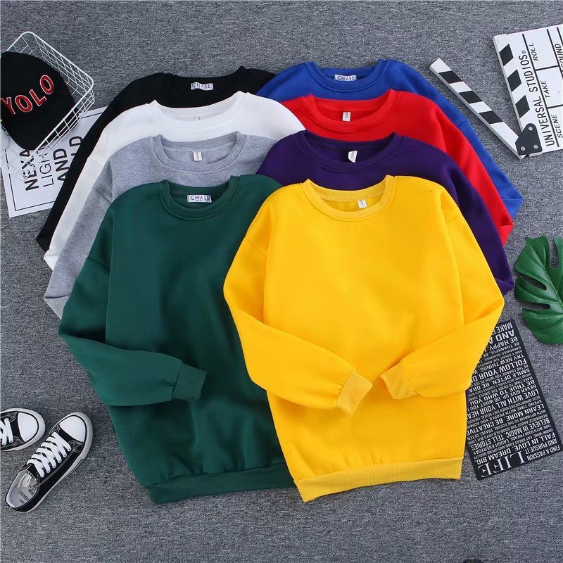 Winter Thickening Women Men Sweater Loose Joker Solid Color Lovers Couples Long Sleeve Fashion Pullover Top Blouse