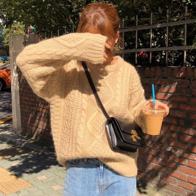 Купить новые женские свитера из мохера осень зима новые винтажные повседневные картинки цена