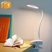 Lámpara LED de escritorio con Clip, luz de lectura regulable, táctil, USB, para mesita de noche, libro