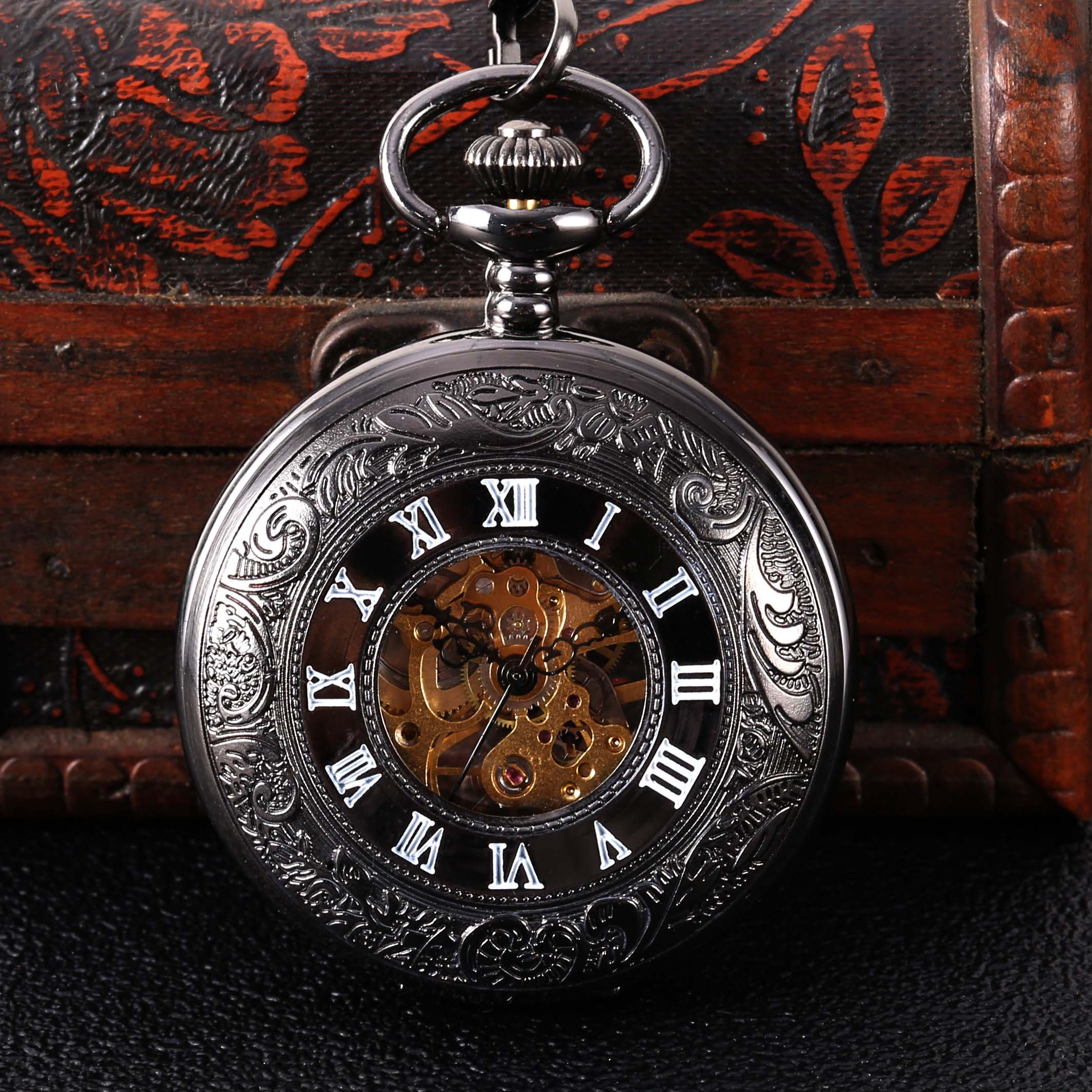 Black Carved White Face Roman Scale Mechanical Large Pocket Watch