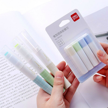 3pcs Pen Type Solid Glue Can Replace The Core Glue Stick Transparent High Viscosity Glue Kawaii Stationery School Office Supply image