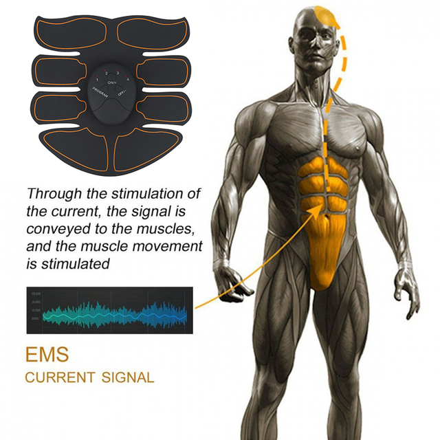New EMS Abdominal Muscle Exerciser Trainer Smart ABS Stimulator Fitness Gym ABS Stickers Pad Body Loss Slimming Massager Unisex 3