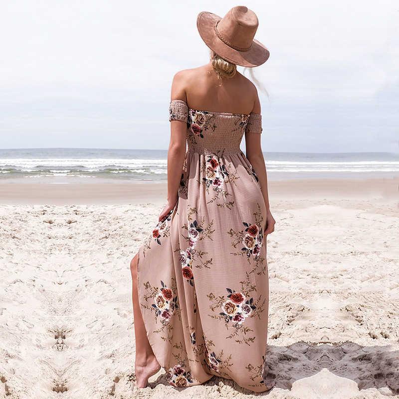NEDEINS 2020 kadınlar seksi çiçek elbise yaz bölünmüş Maxi plaj Sundress kapalı Backless elbise Boho uzun elbiseler Vestidos Femme