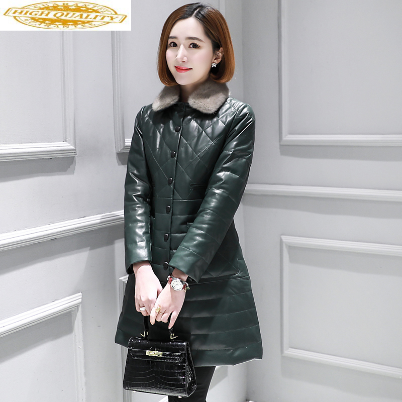 Genuine Leather Jacket Women Mink Fur Collar Autumn Winter Sheepskin Coat Real Leather Jackets Chaqueta Mujer KJ3373