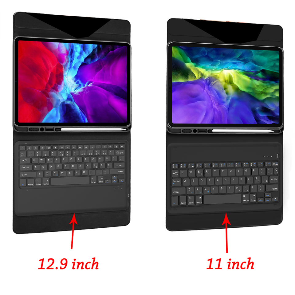 Gray ZHEN LI Tablet PC Bluetooth Keyboard Waterproof Case -red/_12.9 inches