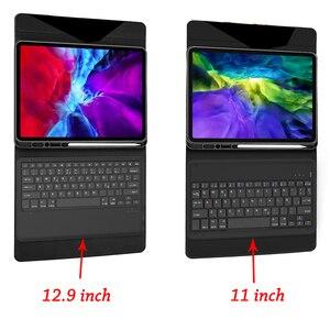 Image 5 - Para ipad pro 2020 11 12.9 caso de teclado com suporte de lápis tablet teclado bluetooth capa de couro para ipad pro 11 2020 teclado