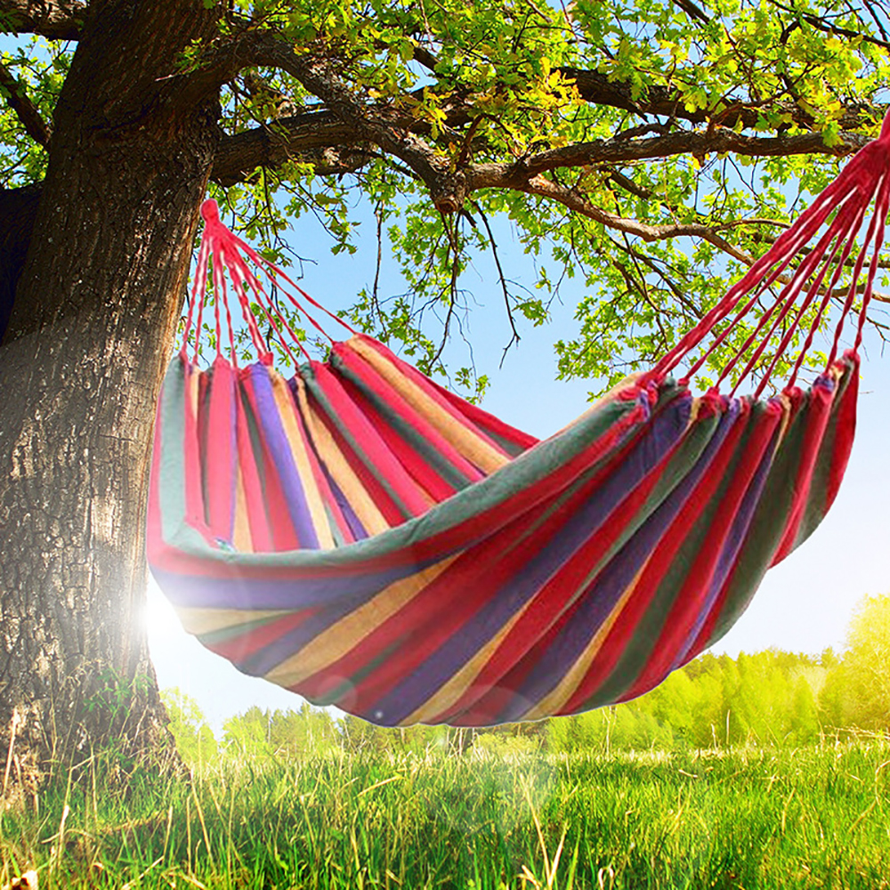 New Product Promotion! Outdoor Canvas Hammock Portable Travel Camping  Swing Lazy Chair Hanging Hammock