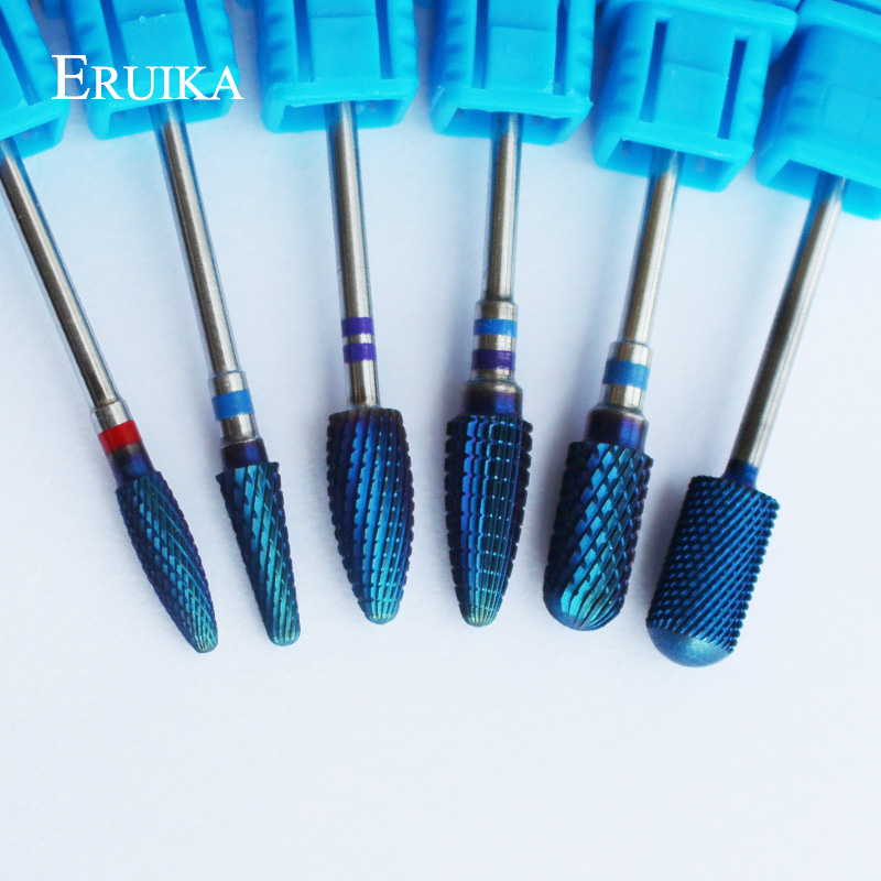 ERUIKA 6 Type Blue Tungsten Carbide Burrs Nano Coating Nail Drill Bit Metal Bits For Manicure Nail Drill Accessories Nail Mills