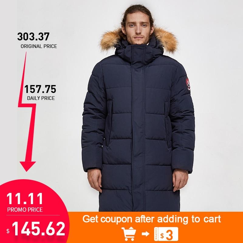TIGER FORCE Men Parka Winter Jacket Long Alaska Coat Artificial Fur Hood Male Thick Waterproof Outwear