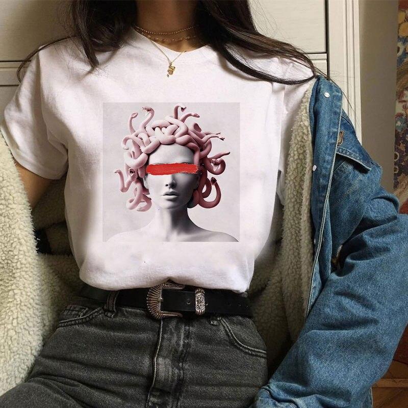 2020 년 여름 100% 코튼 디지털 프린트 티셔츠 f 메두사 프린트 보그 하라주쿠 티셔츠 플러스 사이즈 미학 티셔츠 Camiseta Mujer