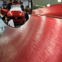 10/20/30/40/50x152cm voiture style rouge métallique brossé aluminium vinyle mat brossé voiture Film autocollant autocollant avec bulle
