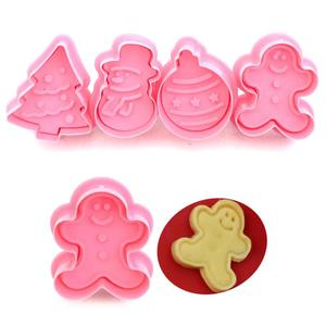 New 4pcs Cookie Stamp Biscuit Mold 3D Cookie Plunger Cutter DIY Baking Mould Gingerbread House Christmas Cookie Cutters