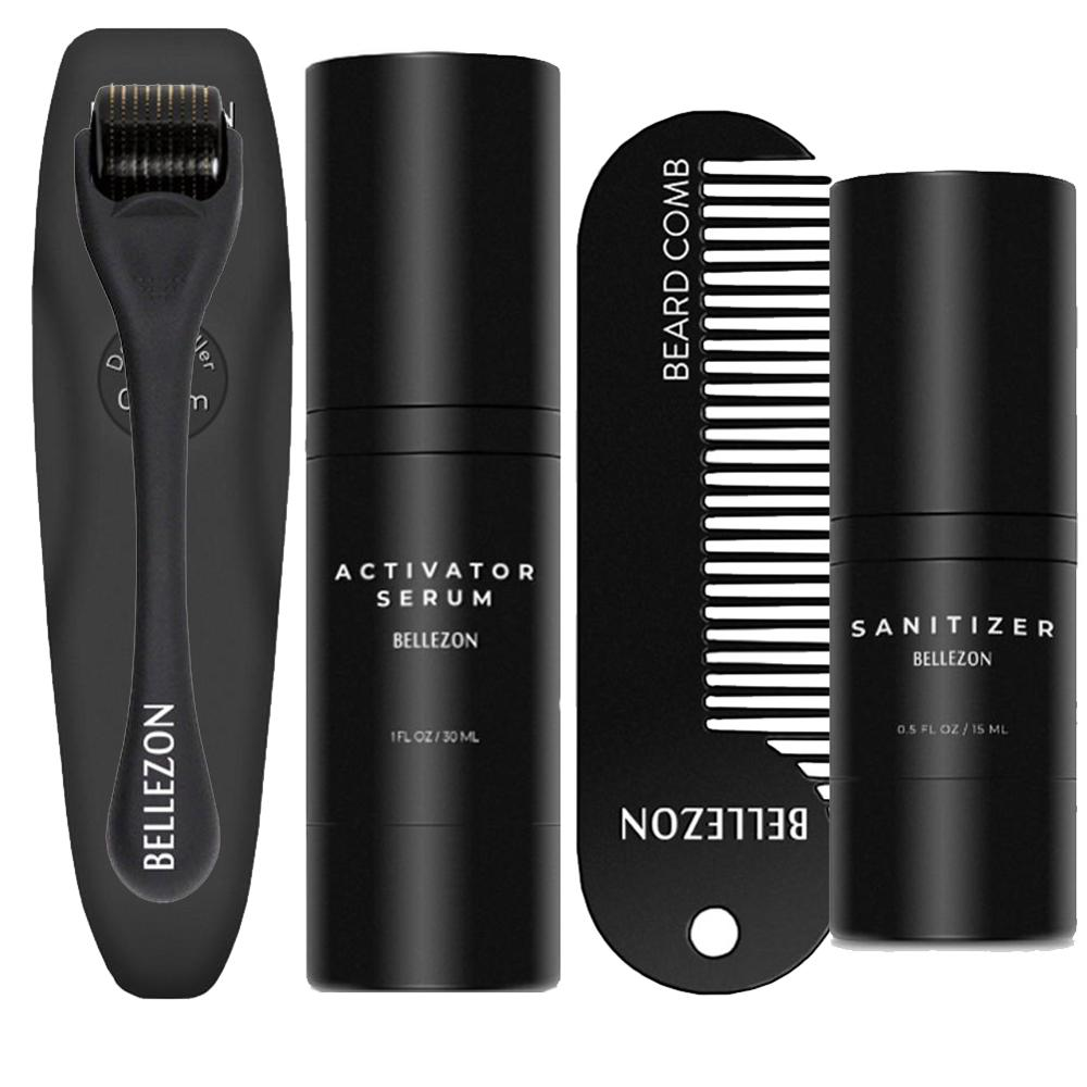 4 Pcs/set Barbe Beard Growth Kit Hair Growth Enhancer Thicker Oil Nourishing Essence Leave-in Conditioner Beard Care with Comb image